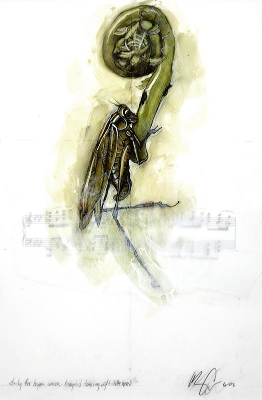 Katydid Dancing with Fiddlehead