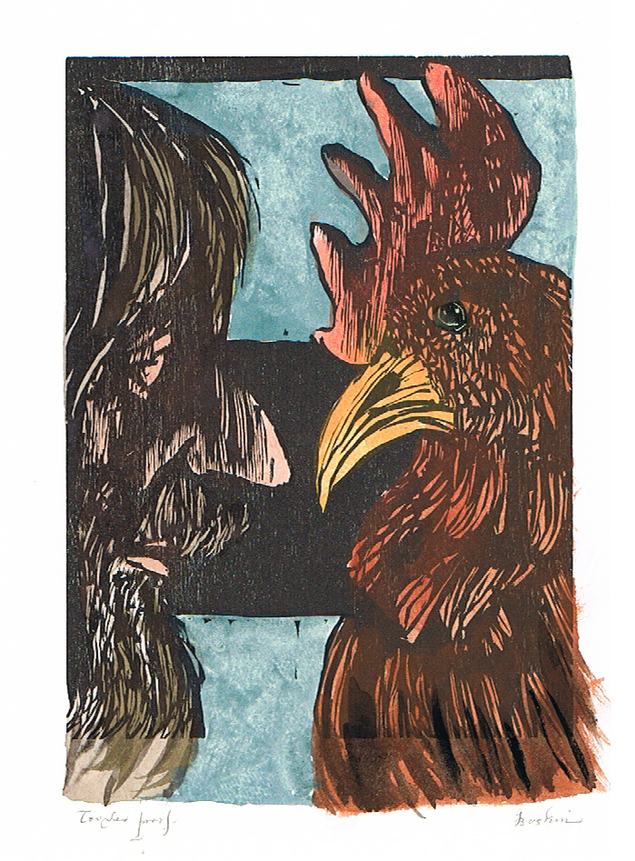 Man and Rooster (Hand Colored)