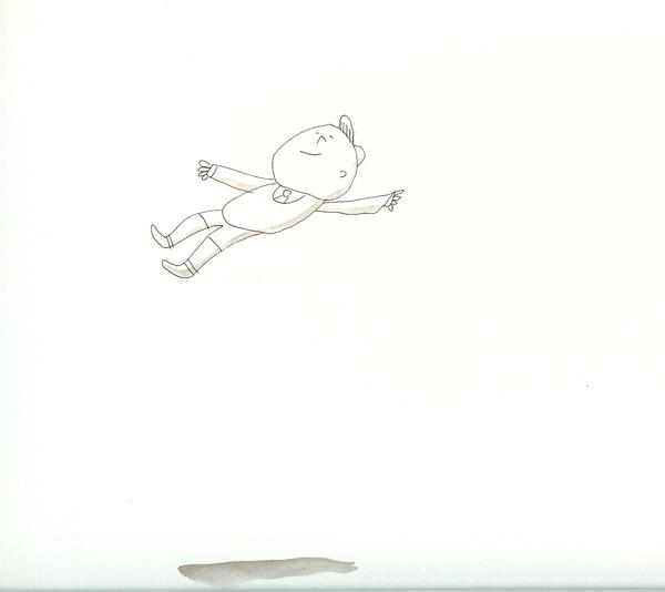 Flying Boy with Shadow