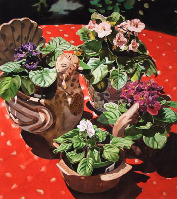 African Violets on Red Tablecloth
