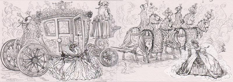 Pumpkin Into Carriage (Sketch)