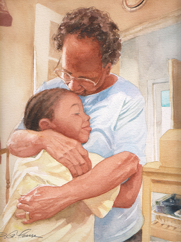 Grandma and Child Hugging