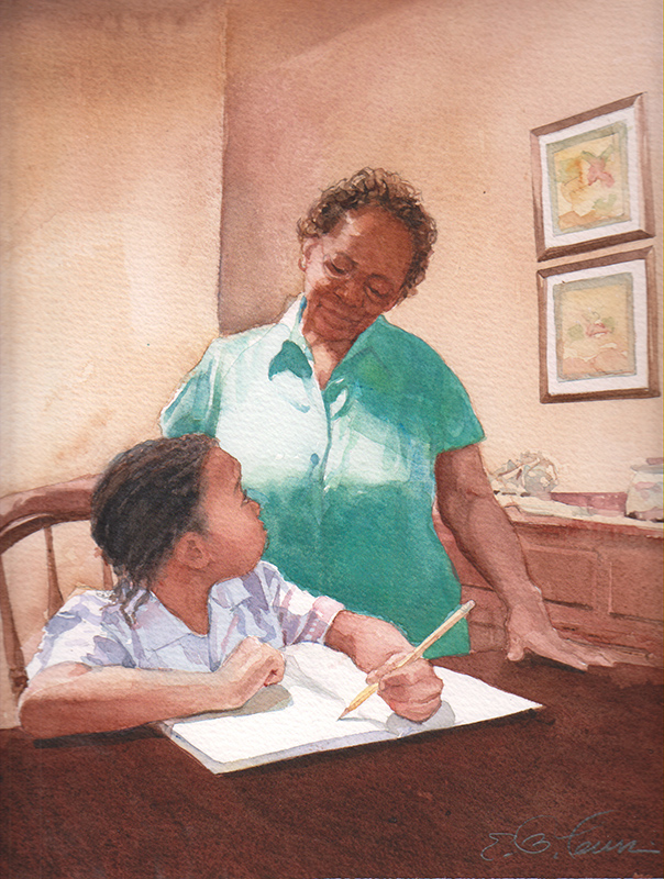 Grandma and Child Writing At Table