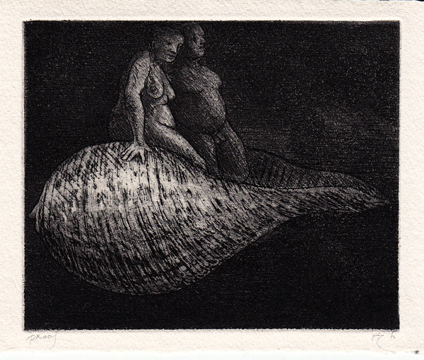 Couple Floating in Shell