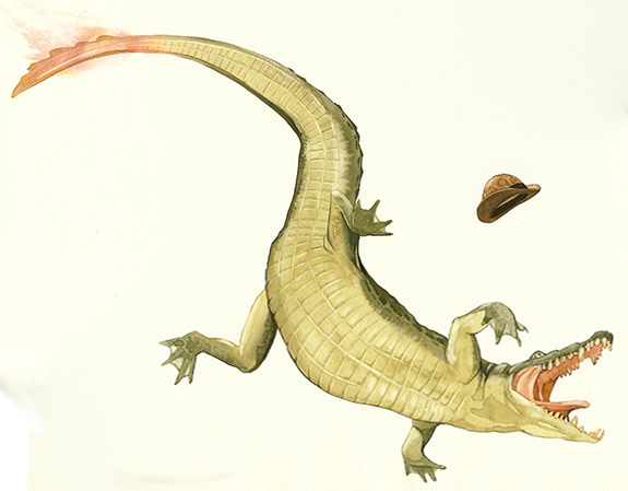 Alligator with Burning Tail