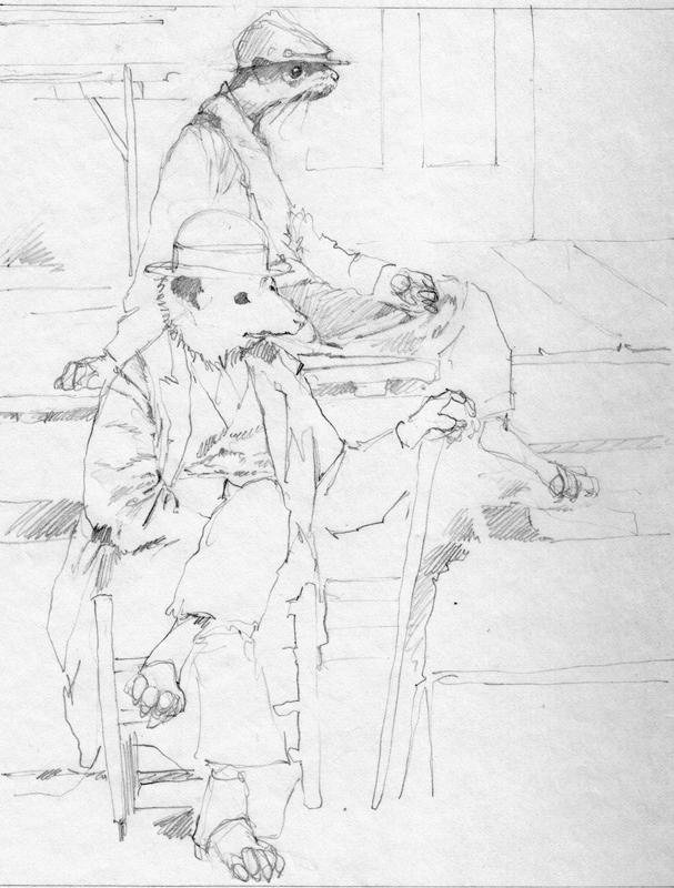 Brer Mink and Brer Possum study