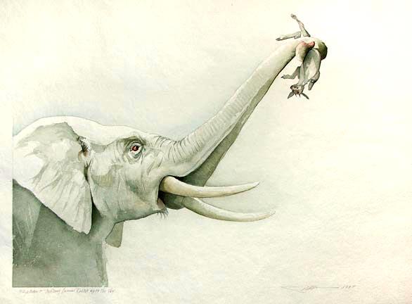 Elephant Holding Cunnie Rabbit Up
