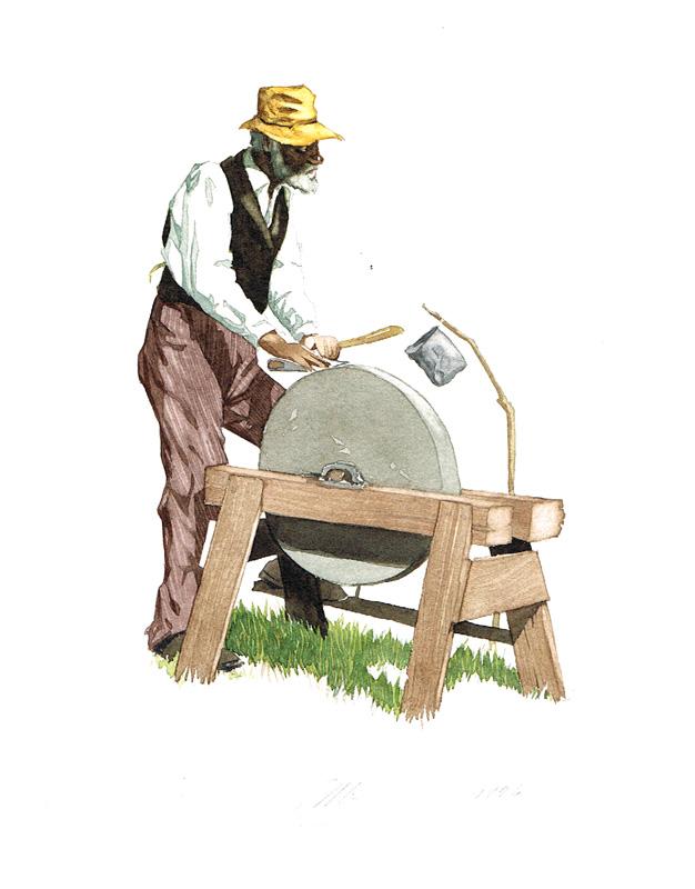Uncle Dan'l Grinding an Axe