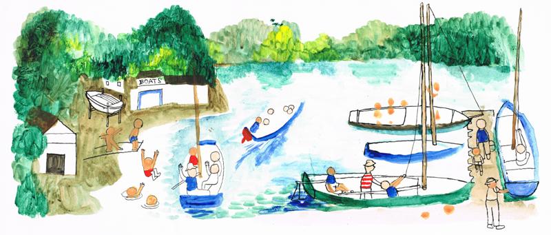 Boats Sailing and Swimming