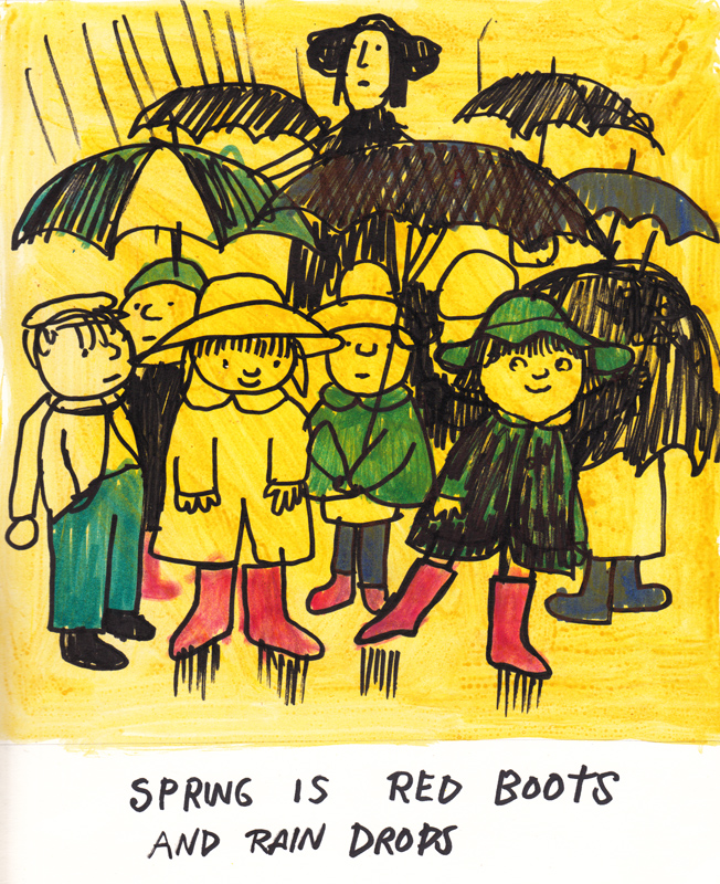 Red Rain Boots Spring