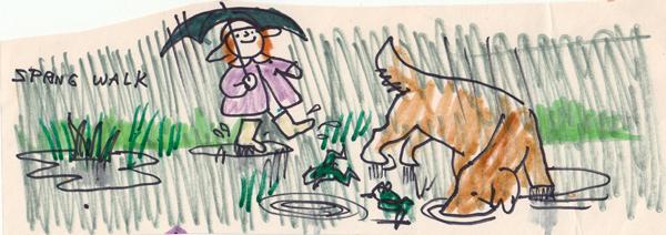 Spring Walk in the Rain