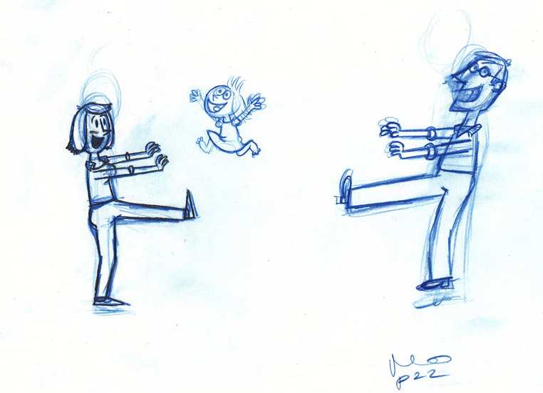 Mommy and Daddy Robots from Planet Snurp Sketch