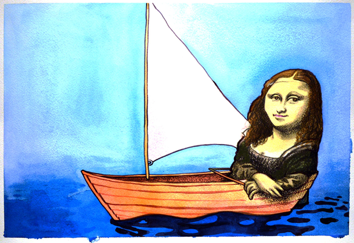 Editorial Mona Lisa On A Boat