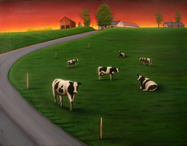 Cows by Road (Red Sky)