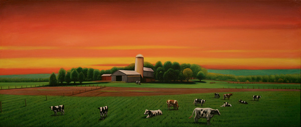 Cows and Silo (Red Sky)