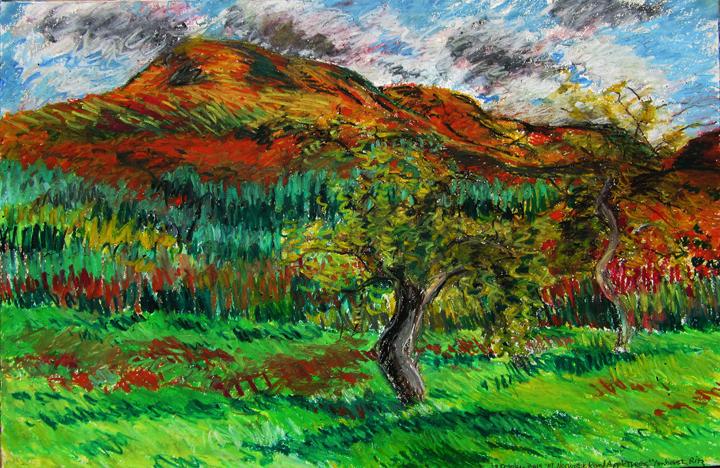 Holyoke Range Mountains and Apple Tree