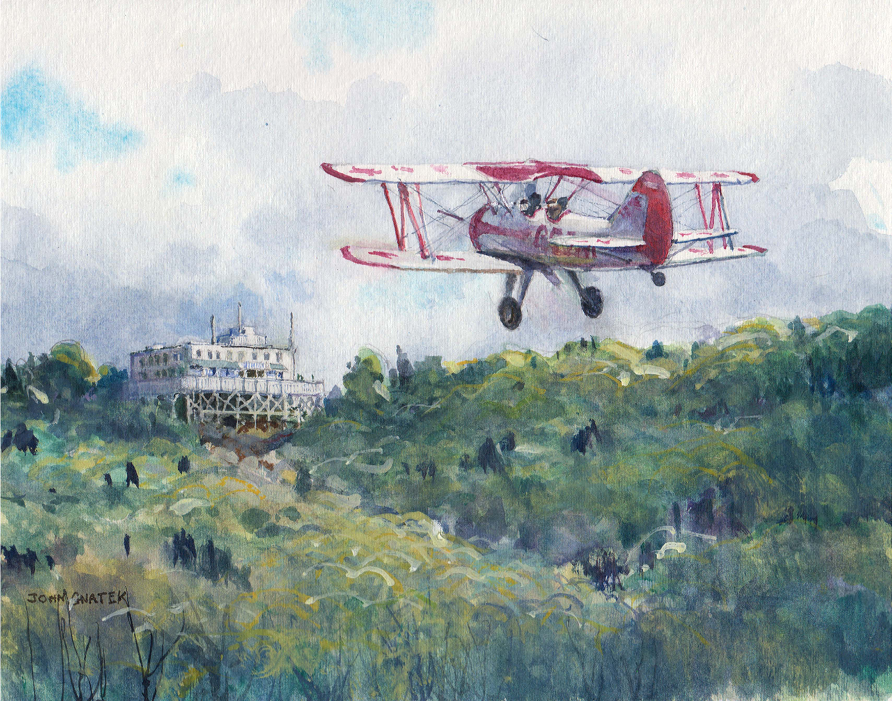 Red Baron Pizza Biplane Flying Over the Summit House