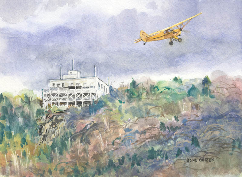 Summit House and Piper J3 Cub