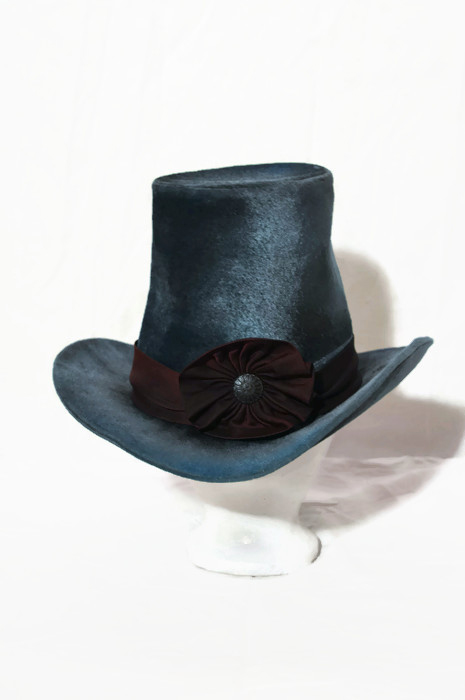 Blue Hat with Black Ribbon