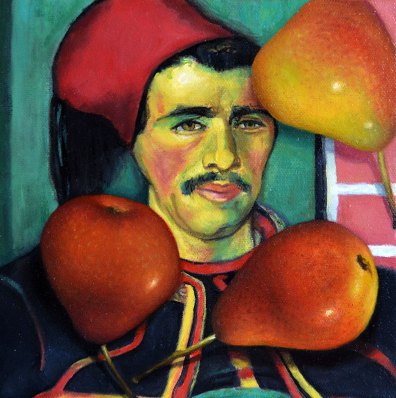 Red Pears with The Zouave (after Van Gogh)