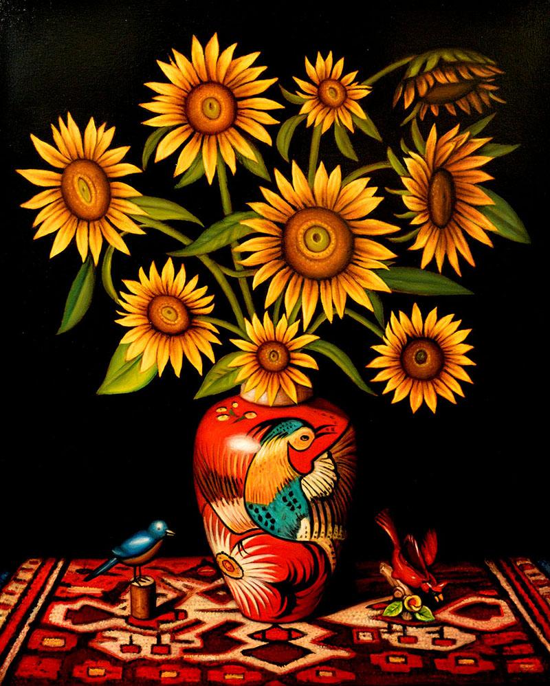 Sunflowers with Birds