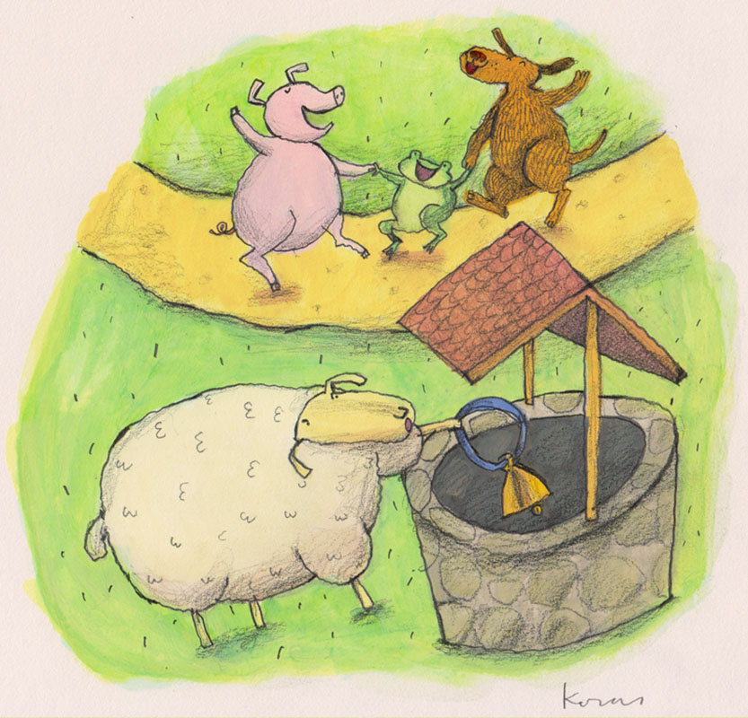 Sheep Throws Bell in Well