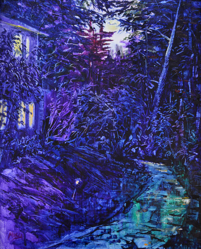 Nocturne Harmony-Contrast of Extension, Blue, Violet, and Yellow with Green