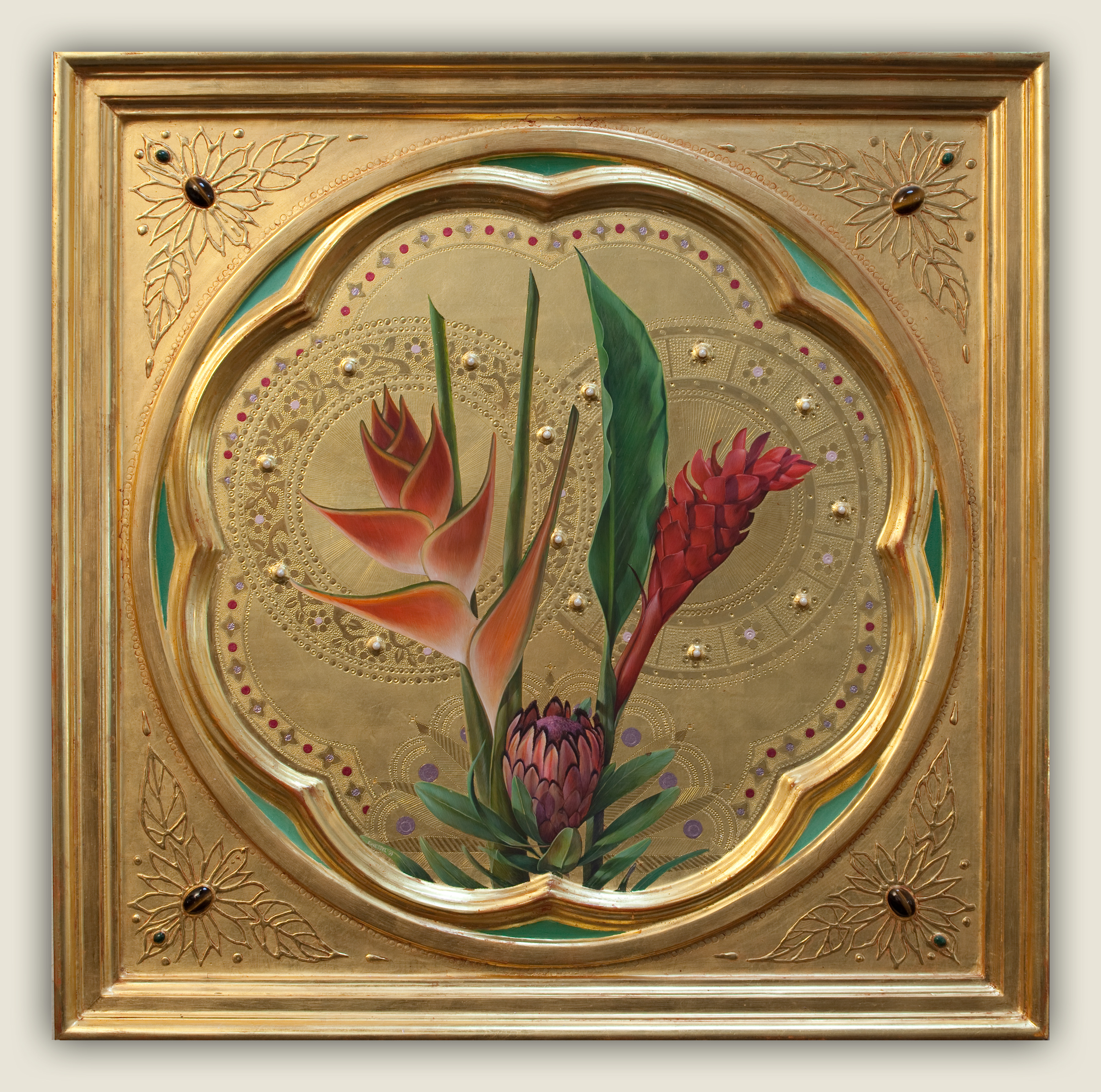 Sienese Icon (3 Tropical Flowers)