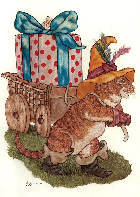 Puss in Boots Greeting Card Original