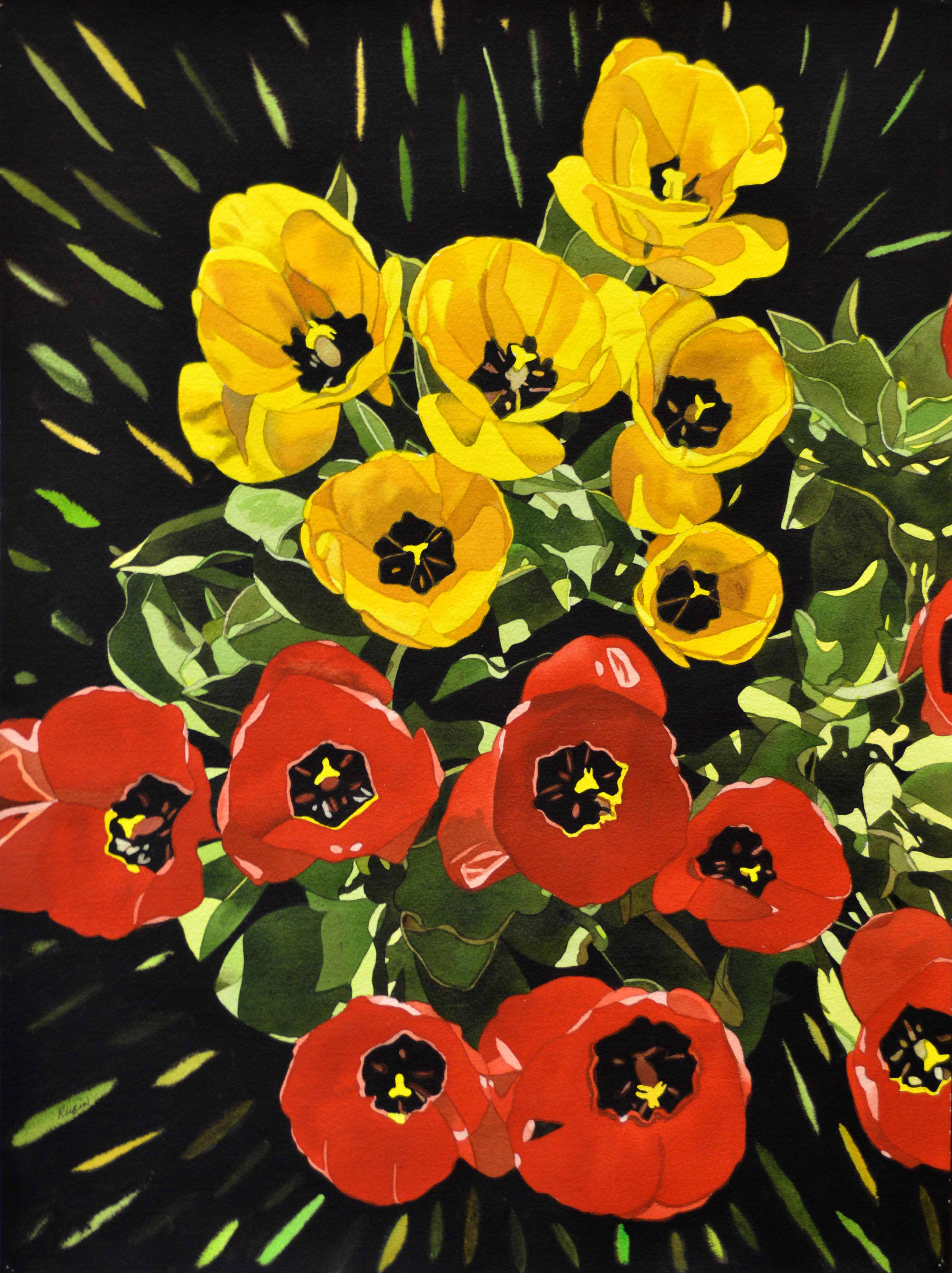 Red and Yellow Tulips 24×18
