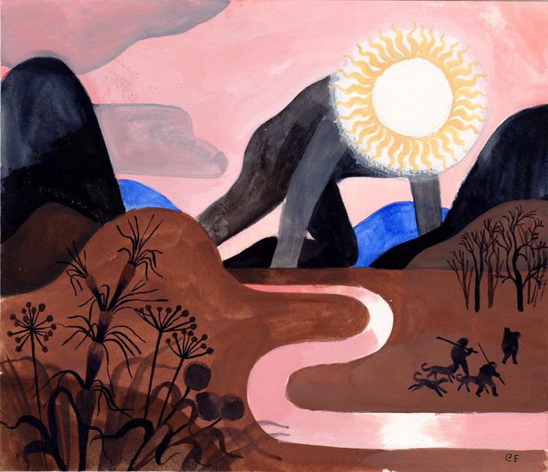 Winding River with Sun Study III