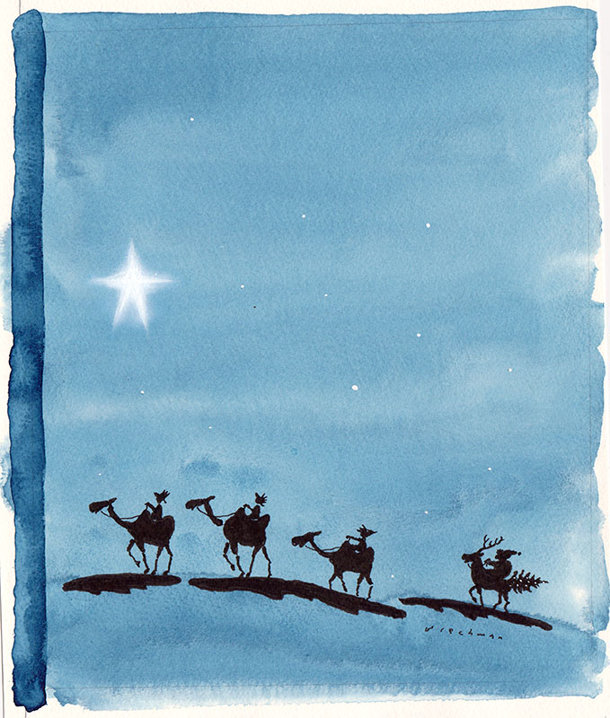 Three Wise Men and Santa Claus