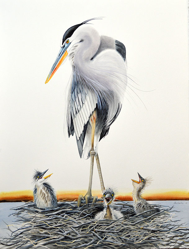 Blue Heron Triptych (middle)