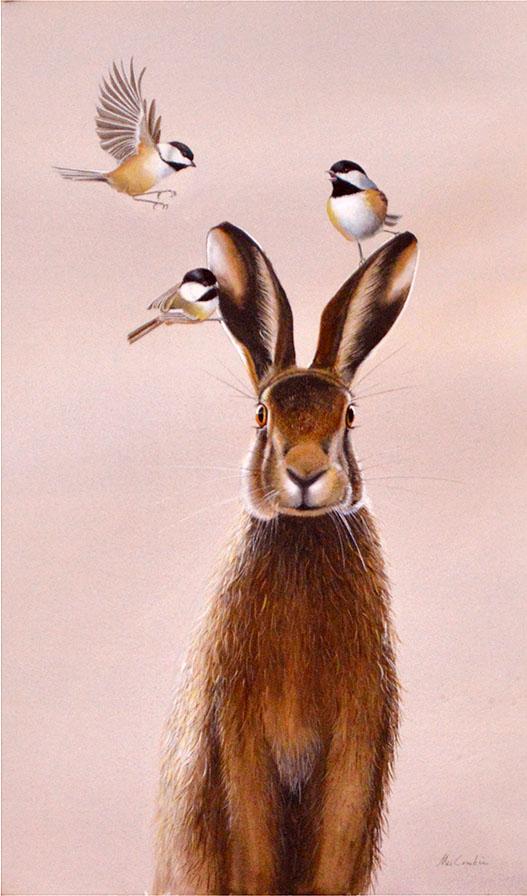Hare with Chickadees