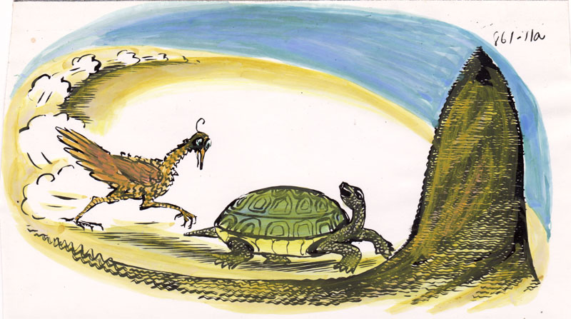 Helps Turtle Win a Race Colored