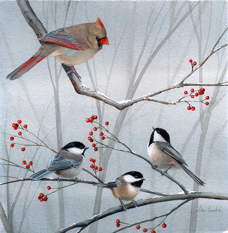 Cardinal and Three Chickadees